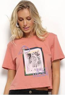 Camiseta Sommer Estampada Feminina - Feminino-Rosa Bebê