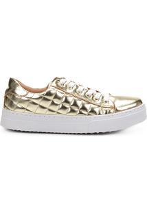 601bb47eb90 Tênis Shoestock Matelassê Feminino - Feminino-Dourado