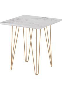 Mesa Lateral Quadrada 47,5 Carrara Pé Ferro Dourado- Líder Design
