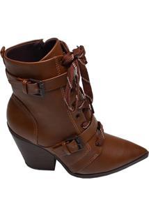 Ankle Boot Feminina Ramarim Marrom Cravo