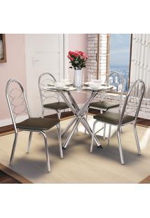 Conjunto De Mesa E 4 Cadeiras Cmc329Cr-21 - Kappesberg - Cromado / Marrom