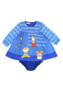 Vestido / Calcinha Infantil / Baby Em Voial De Poliester Estampado - Um Mais Um Azul