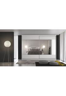 Guarda-Roupa Casal 2 Portas E 4 Gavetas Módena Espelho Branco Acetinado