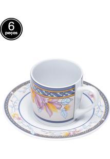 Conjunto 6Pçs Xícaras De Porcelana Para Café Com Pires Lamoz 90Ml Bon Gourmet