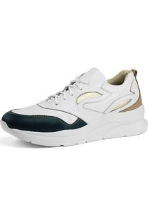 Tênis Dad Sneaker Sapatofran Chunky Em Couro Branco E Índigo