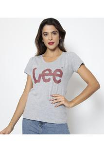 "Camiseta ""Lee®""- Cinza & Bordô- Leelee"