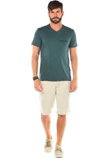 Bermuda Zinco Slim Com Recortes Jeans