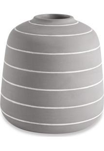 Vaso Quadriculado Em Relevo- Preto & Cinza- 16,5Xø16Mart