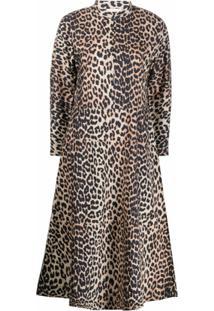 Ganni Vestido Midi Com Estampa De Leopardo - Neutro