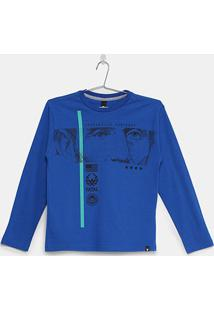Camiseta Infantil Fatal Manga Longa Masculina - Masculino-Azul Royal