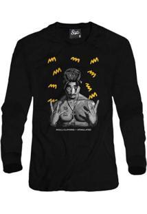 Casaco Moletom Skull Clothing Tupac Yellow Masculino - Masculino-Preto