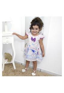 Vestido Festa Infantil Estampa De Unicórnios Tubinho Trapézio