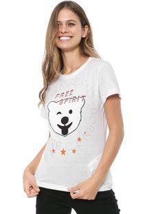 Camiseta Coca-Cola Jeans Aplicações Branca