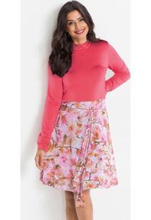 Vestido Gola Alta Com Amarração Floral Rosa