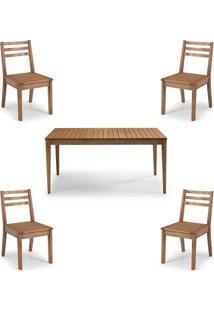 Conjunto Dubai Mesa + Cadeiras Assento Madeira - 60477 - Sun House