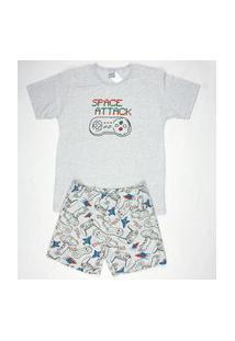 Pijama Curto Masculino Meia Malha Gola U Brezzi Estampa Game Cor Mescla