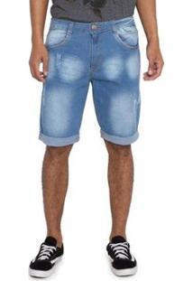 Bermuda Jeans Grupo Avenida Efeito Bigode Masculina - Masculino-Azul
