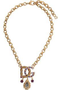 Dolce & Gabbana Embellished Logo Necklace - Dourado