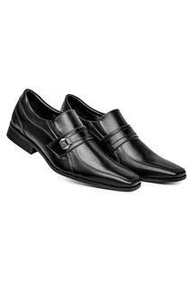 Sapato Social Masculino Calce Fácil Confortável Detalhe Metal Exclusivo - Preto