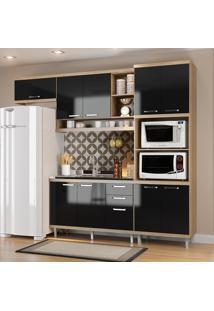 Cozinha Compacta Sicília Sem Tampo 9 Portas Argila/Preto - Multimóveis