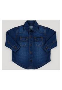 Camisa Jeans Infantil Com Bolsos Azul Escuro