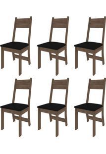 Conjunto Com 6 Cadeiras Luzia Noce E Preto