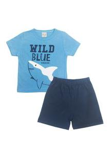 Conjunto Pijama Infantil Masculino Em Meia Malha Wild Blue Azul Médio/Marinho Multicolorido