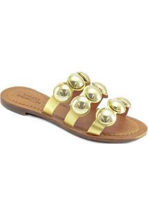 Rasteira Tiras Metalizadas Sapato Show - Feminino-Ouro