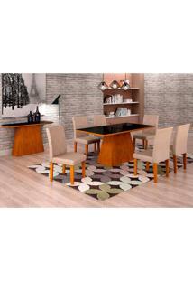 Conjunto De Mesa De Jantar Luna Com Vidro E 6 Cadeiras Ane I Veludo Imbuia E Preto