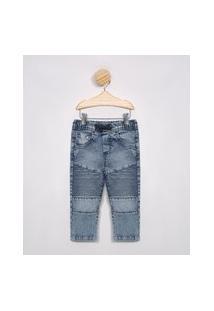 Calça Infantil Skinny Jeans Texturizada Com Recortes Azul Claro