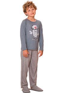 Pijama Menino Longo Infanto Juvenil Listrado Familia Luna Cuore