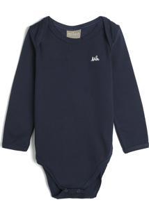 Body Milon Infantil Liso Azul-Marinho