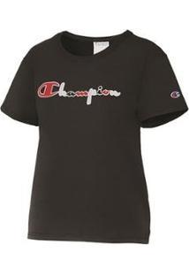 Camiseta Champion Script 3 Cores Gt92 Feminina - Feminino-Preto
