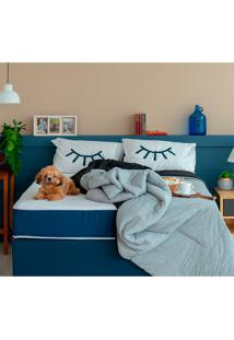 Cama Box Click Casal Com Colchão E Travesseiro Guldi Macio (39X138X188) Azul