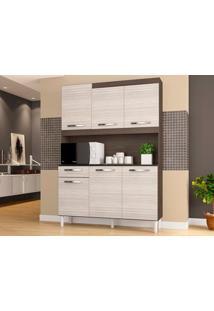 Cozinha 6 Portas Carine Capuccino/Amêndoa - Lc Móveis