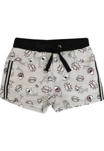 Short Infantil Authoria Sarja Pop Sharks Feminino - Feminino-Cinza
