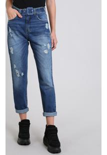 Calça Jeans Feminina Mom Destroyed Azul Escuro