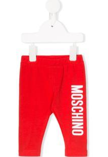 Moschino Kids Calça Com Estampa De Logo - Vermelho