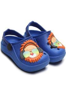 Sandália Babuche Luelua Infantil Masculino Leão Estiloso - Masculino-Azul