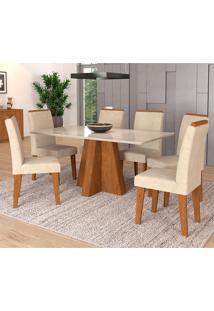 Conjunto De Mesa Patricia 1,60Cm Para Sala De Jantar Com 6 Cadeiras Milena Com Moldura-Cimol - Savana / Off White / Sued Bege