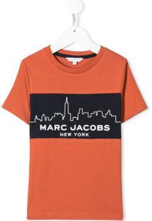 Little Marc Jacobs Vestido Reto Laranja Com Estampa De Logo