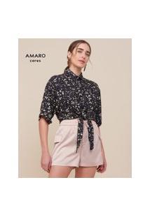 Amaro Feminino Camisa De Viscose Nó Frontal Estampada, Poa Splashes