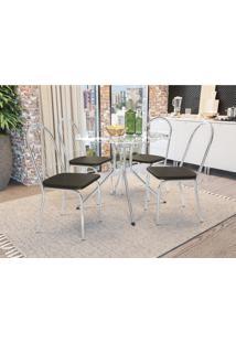 Conjunto Mesa Ural C/ 4 Cadeiras Noruega Cromada Kappesberg