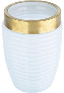 Vaso Com Detalhes Em Relevo- Branco & Dourado- 17,8Xurban