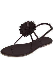Rasteira Mercedita Shoes Flor Verniz Marrom - Marrom - Feminino - Dafiti
