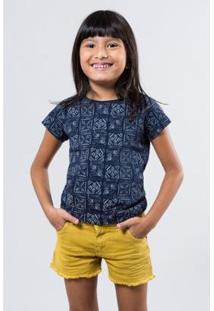 Camiseta Infantil Carimbos Reserva Mini Feminina - Feminino-Azul Petróleo