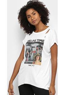 Camiseta Coca Cola Selfie Time Feminina - Feminino-Branco