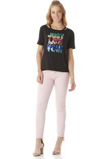 Camiseta Feminina Serinah Brand Com Paetês Preta