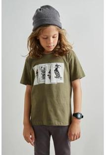 Camiseta Infantil Est Pf Mini Pica Pau Joker Reserva Mini Masculina - Masculino-Verde Militar