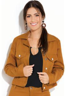 Jaqueta Caramelo Em Sarja Com Botões